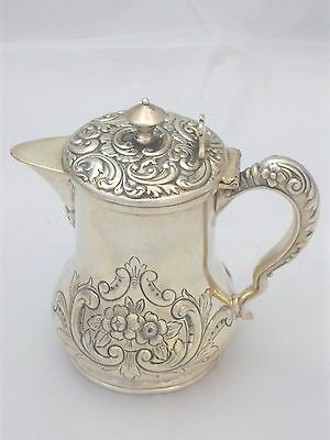 Exquisite Victorian Silverplate Honey Pitcher Jug Repousse Scroll Design Meriden
