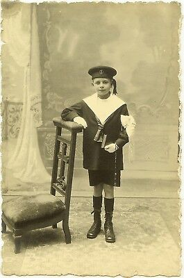 Carte Photo  Un Jeune Communiant En Costume Marin Annee 1920-1930