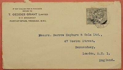 1923 Trinidad Tobago Single Franked Cover Port-Of-Spain To England