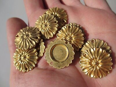 "Small Flower Ormolu Furniture Hardware Gold/ Brass Colour Rose Floral  x10   1""W"