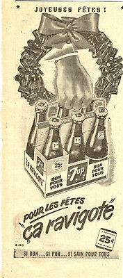 1949 A Carton Of 7Up Soda At Christmas... Original Ad In French