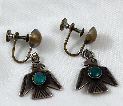Thunderbird Earrings Fred Harvey Era Sterling Silver Natural Turquoise Screw-ons