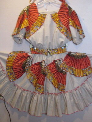 2599 The Great American Sq Dance Co Tan with Feather Print Outfit, Belt & Tie 14