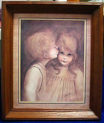 Margaret Kane A Little Kiss Big Eyed Boy Girl Framed Home Interior Print 1960s