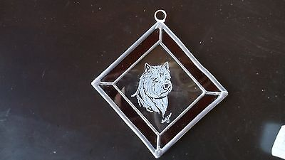 Nowwich Terrier-  Beautifully  hand engraved Ornament by Ingrid Jonsson