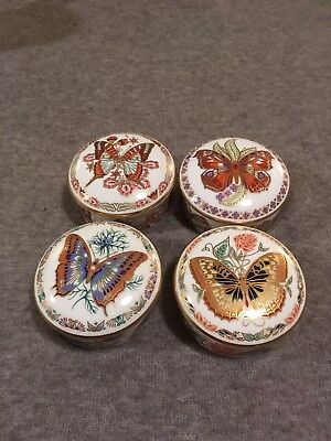 Royal Crown Derby Butterflies of the World Lidded Trinket Boxes X4