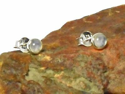 MOONSTONE   Sterling  Silver  925  Gemstone  Earrings  / STUDS  -  4 mm