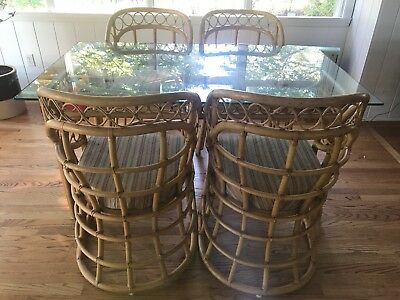Vintage Mid Century Modern Rattan And Bamboo Table And Chair Set