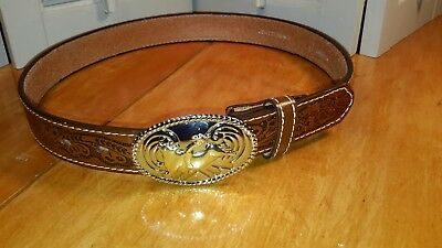 NOCONA Belt Co womens Tooled Leather Belt size 28 Brown Silver Gold Bull Buckle