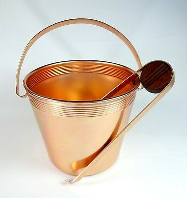 West Bend Ice Bucket Pail w/ Tongs Copper Color Aluminum Mid Century Modern