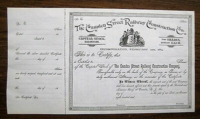 CAMDEN STREET RAILWAY CONSTRUCTION Co. Stock Certificate - 1800s