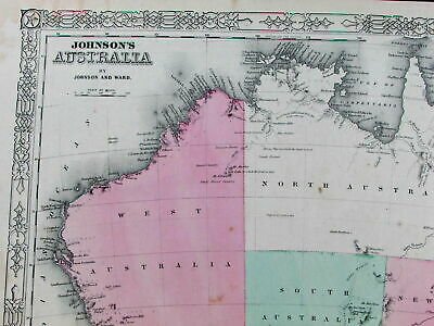 Australia European discoveries Hooked Lake Torrens 1863 old detailed Johnson map