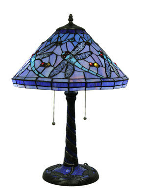 Beautiful Blue Twin Bulb Stained Glass Dragonfly Table Lamp