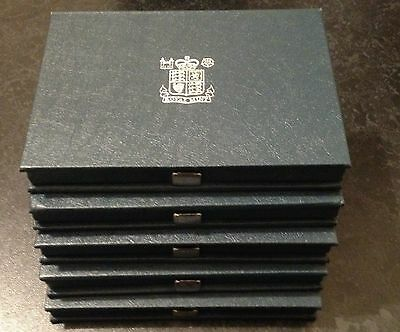5 x OFFICIAL ROYAL MINT BLUE EMPTY PROOF SET COIN CASE HOLDERS METAL HOLDER