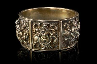 Antique Asian Buddhist Gods Sterling Silver Repousse Heavy Bracelet D73-01