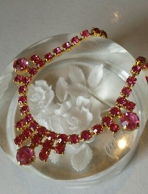 Vintage 1950's Pink rhinestone collar necklace stunning Jewelry