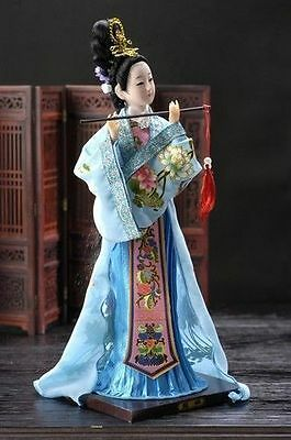 Oriental Broider Doll,Chinese Old style figurine China doll girl statue blue