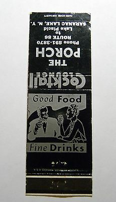 Vintage Matchbook Cover The Porch Cocktail Lounge Lake Placid