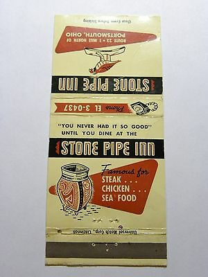 Vintage Matchbook Cover Stone Pipe Inn Cocktail Lounge