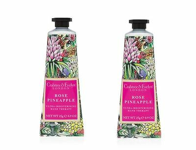 Crabtree & Evelyn Hand Therapy - 2 x 25g Hand Therapy - ROSE PINEAPPLE - NEW