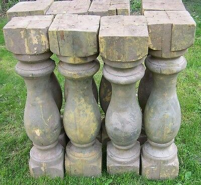 wood balusters,one pair wood pedestals,two wood columns,rustic plant stands