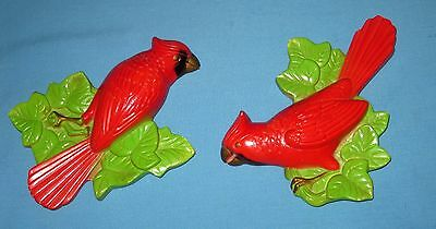 LOT OF 2 VTG Cardinals/Red Birds CHALKWARE WALL HANGINGS!