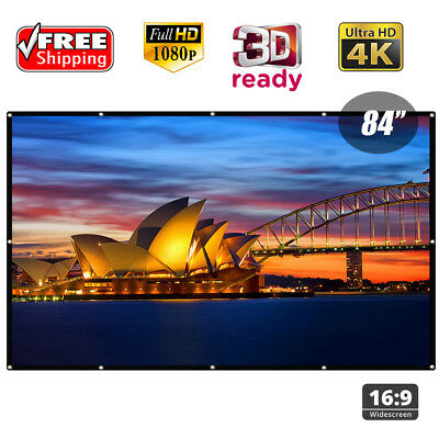 84'' Inch Portable 16:9 Projector Projection Screen Home Theater LED DLP DVD TV