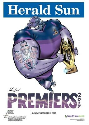 2017 Melbourne Storm Nrl Grand Final Premiership Poster Mark Knight Herald Sun