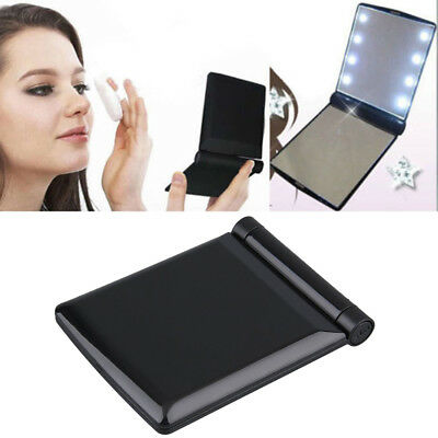 Portable Makeup Cosmetic Folding Compact Pocket Mirror Travel - 8 LED Lights