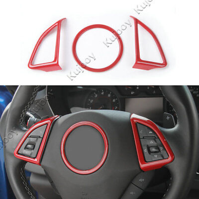 3X Red ABS Car Steering Wheel Cover Decor Trim Sticker for Chevrolet Camaro 17+