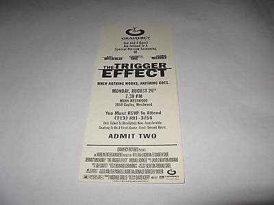 Rare 1996 The Trigger Effect Premiere Screening Movie Ticket - Kyle Maclachlan