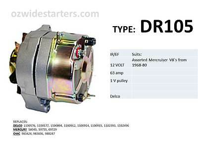 Mercruiser alternator suits assorted 4 cyl, V8`s from 1968-1982. Also OMC