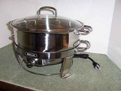 Bella 6.5 Qt Electric Round Stainless Steel Glass Lid Stainless Chafing Dish