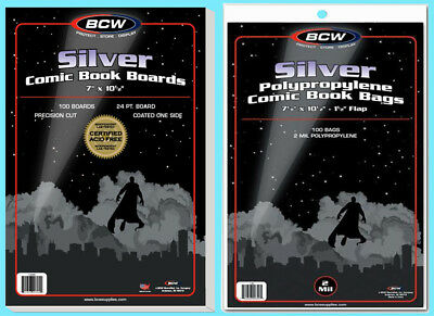 100 BCW SILVER COMIC BOOK BAGS & BACKING BOARDS Clear Plastic Archival Acid Free
