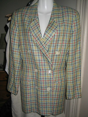 S tartan authentic BOGNER 80's designer jacket blazer wool & linen bone buttons