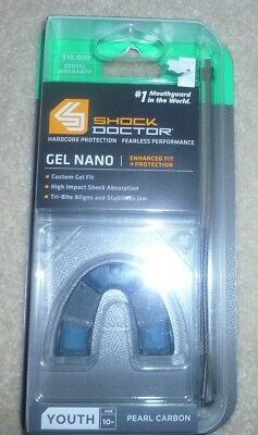 (NEW!) Shock Doctor Mouthguard Gel Nano Pearl Carbon Youth Age 10 -
