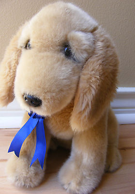 "FAO Schwarz Plush Puppy Dog 1st place Blue Ribbon Golden Retriever Lab 10"" tall"