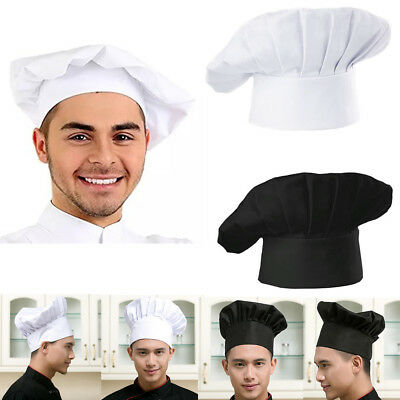New Chef Hat Cap Adult Elastic White Black Catering Baker Kitchen Adjustable USA