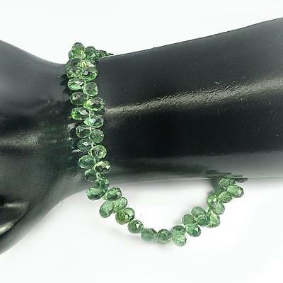 Unheated Gemstones 64.00 Ct. Briolette Natural Green Apatite Beads Length 8 Inch