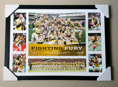 "RICHMOND TIGERS ""AFL 2017 PREMIERS FRAMED PRINT"" Fighting Fury ""Martin, Cotchin"""