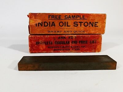Vintage Rare Norton Emery Wheel co. - Sharpening India Oil Stone - Shop Sample