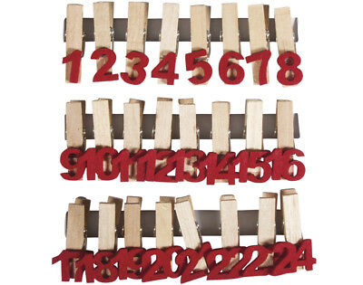 24 Red Felt Numbers on Pegs for Christmas Advent Calendar Crafts