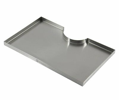 "Kegco 16"" x 10"" Surface Mount beer Drip Tray - 3"" Column Cut-Out - SS, No Drain"