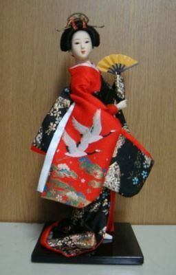 New Japanese beautiful doll MAIKO GEISHA from japan red crane / Japanese fan