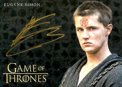 Game Of Thrones Valyrian Steel GOLD AUTOGRAPH card EUGENE SIMON as LANCEL