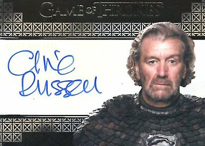 Game Of Thrones Valyrian Steel VALYRIAN AUTOGRAPH card CLIVE RUSSELL as BRYNDEN