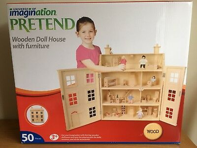 Georgian Wooden 4 Storey Dolls House with furniture & people 50pcs !BRAND NEW!