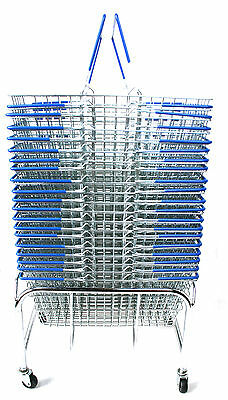 20 Blue Wire Shopping Hand Carry Baskets (21L) & FREE plinth