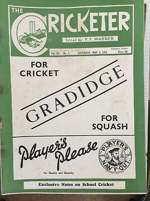 20 By 1934 Cricketer magazines. All very good. Staples rusty.