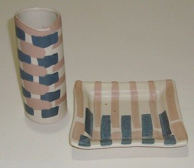 Beautiful Studio Pottery Vase & Dish